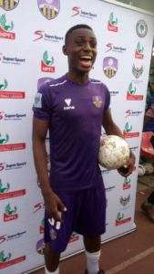 Stephen Odey with Match Ball after scoring hattrick in Match Day 3 against Lobi Stars