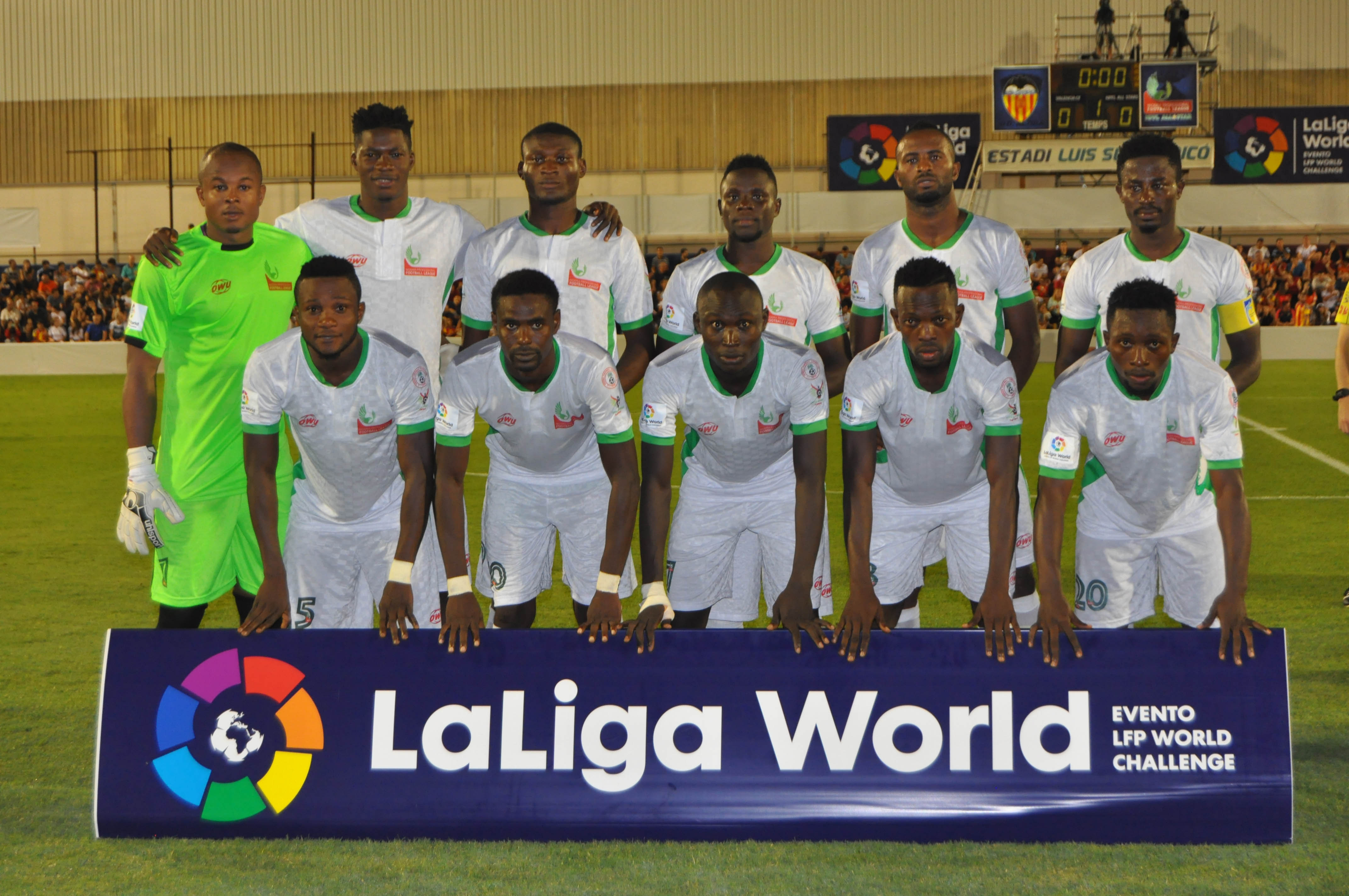 Godwin Obaje with the NPFL All Stars team in Spain last August
