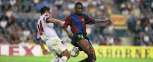 Gbenga Samuel Okunnowo in the colours of FC Barcelona