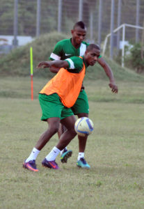 Agbo in training with the Super Eagles