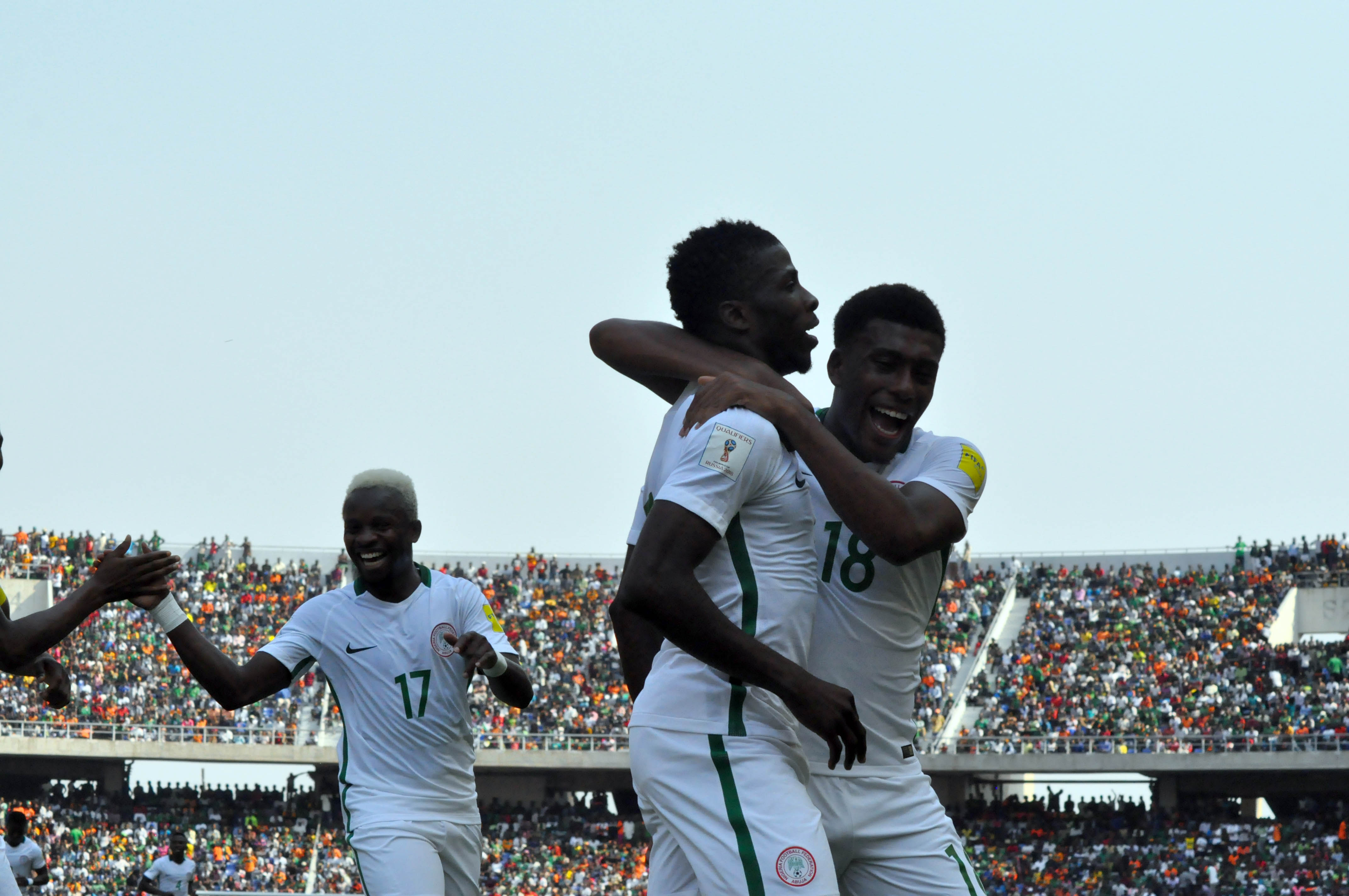 Iwobi and Iheanacho celebrate a goal in the National team
