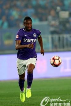 Mikel John Obi in action for Tianjin Teda away at Jiangsu Suning