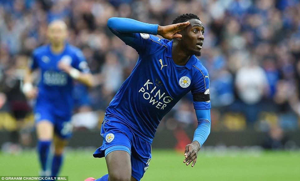 Ndidi celebrates after scoring to put Leicester City ahead against Stoke City