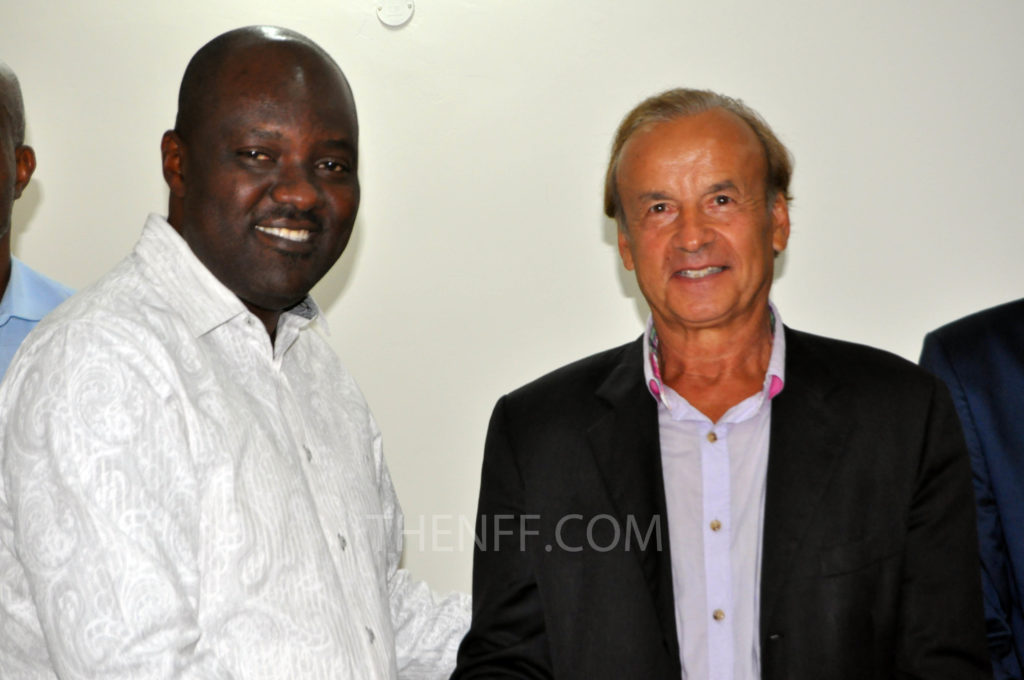 Gernot Rohr and NFF Technical Committee Chairman, Chris Green after he was engaged in June 2016