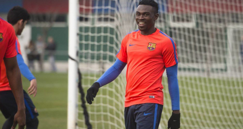 Bassey in training at La Masia
