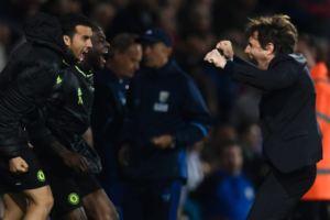 Moses, Pedro celebrates with Manager Conte after clinching the EPL on Friday