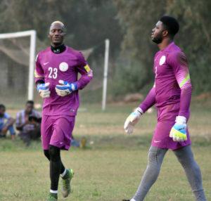 Super Eagles goalies Dele Alampasu and Daniel Akpeyi