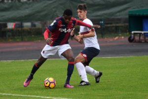 Orji Okonkwo playing for Bologna in the Serie A