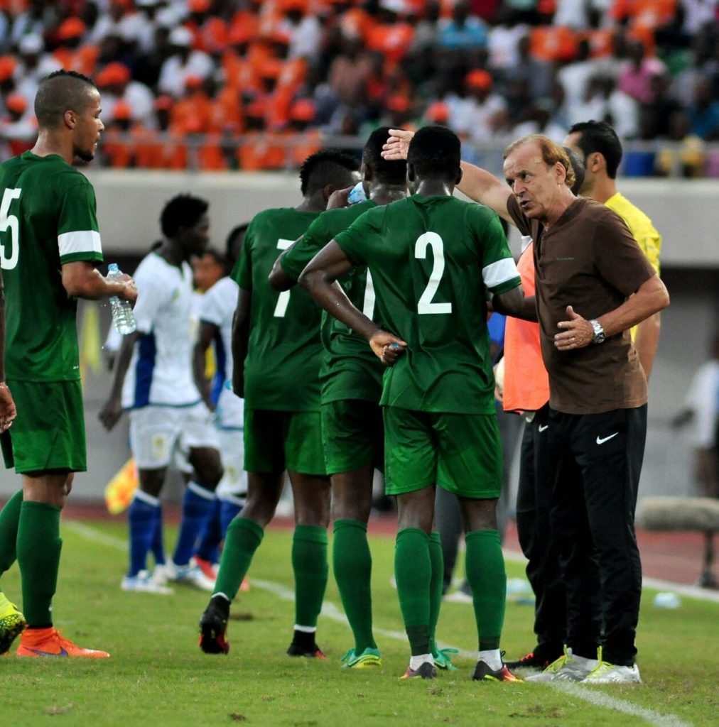 SUPER EAGLES COACH ROHR AND PLAYERS