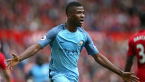Iheanacho celebrating his goal against Manchester United last season