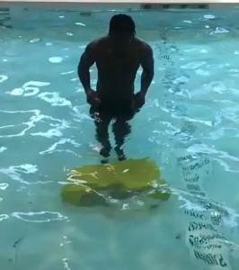 Victor Moses working out in the pool
