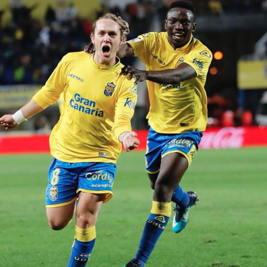 Las Palmas' Etebo reacts after winning debut against Malaga