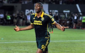 Jun 6, 2015; Portland, OR, USA; Portland Timbers forward Fanendo Adi (9) celebrates after scoring a goal during the second half against the New England Revolution at Providence Park. The Timbers won 2-0. Mandatory Credit: Steve Dykes-USA TODAY Sports