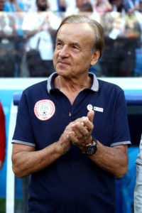 VOLGOGRAD, RUSSIA - JUNE 22: Gernot Rohr, Manager of Nigeria looks on prior to the 2018 FIFA World Cup Russia group D match between Nigeria and Iceland at Volgograd Arena on June 22, 2018 in Volgograd, Russia. (Photo by Lars Baron - FIFA/FIFA via Getty Images)