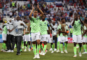 VOLGOGRAD, RUSSIA - JUNE 22: William Ekong of Nigeria applauds fans after the 2018 FIFA World Cup Russia group D match between Nigeria and Iceland at Volgograd Arena on June 22, 2018 in Volgograd, Russia. (Photo by Lars Baron - FIFA/FIFA via Getty Images)