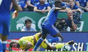 Iheanacho wrestled the ball from Liverpool goalkeeper Allison creating an assist for Leicester's only goal. Photo Credit: The Guardian