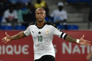 Ghana's forward Andre Ayew celebrates after scoring his team's second goal during the 2017 Africa Cup of Nations quarter-final football match between DR Congo and Ghana in Oyem on January 29, 2017. / AFP PHOTO / ISSOUF SANOGO        (Photo credit should read ISSOUF SANOGO/AFP/Getty Images)