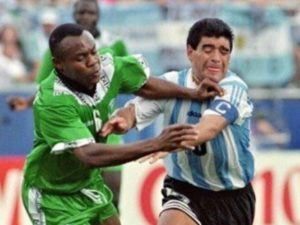 Chidi Nwanu vs Diego Maradona in 1994