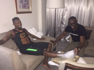 Onazi being treated by Eagles Physio in Abuja