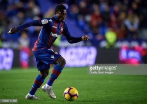 VALENCIA, SPAIN - NOVEMBER 09:  Moses Simon of Levante in action during the La Liga match between Levante UD and Real Sociedad at Ciutat de Valencia on November 9, 2018 in Valencia, Spain.  (Photo by Quality Sport Images/Getty Images)