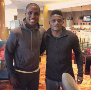 Ighalo and Martins pose for picture