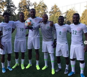 Maja poses with other members of the Super Eagles in Ukraine