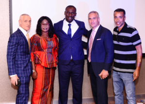 Michael Yormark, Mrs. Chukwueze (Samuel's Mom), Victor Apugo, Ted Major and CEO of 10 Management, Graham Heydorn pose for photo after the event