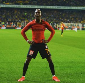 Onyekuru celebrates after scoring 3rd goal against Fenerbahce at the Sukru Saracoglu Stadium
